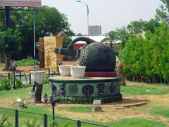 A massive tea cup monument just outside of Khartoum's airport