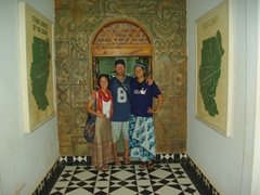 Ichiyo, Lucky and Becky about the enter the Ethnographic Museum in Khartoum