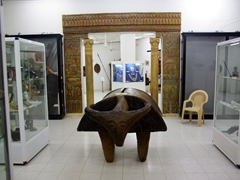 A massive wooden drum in the shape of an animal greets us at the entrance to Khartoum's Ethnological Museum
