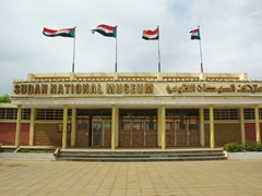 Sudan's flags are proudly waving over the excellent Sudan National Museum; Khartoum