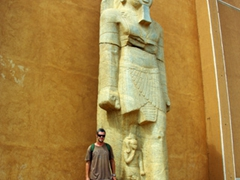 Robby is dwarfed by this massive statue just outside the Sudan National Museum in Khartoum