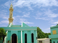 A turquoise colored mosque in Khartoum