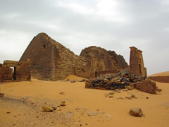 Meroe is the most extensive Nubian Pyramid site in the world. Over 40 Kings and Queens were buried here