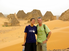 Becky and Robby at the Meroe Pyramids