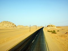 The road leading from Wadi Halfa (as we drive to one of our last bush camps just outside the city)