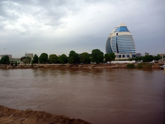 View of a ritzy hotel in Khartoum alongside the Blue Nile River