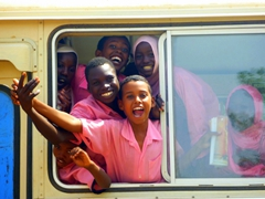 Marie Holden captures a moment of spontaneity as Sudanese school kids pose excitedly for her in Khartoum
