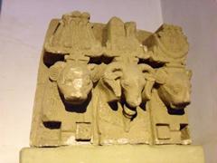 Sculpture of the ram-headed god Amon alongside the lion-headed gods Shu and Tefnut; Sudan National Museum