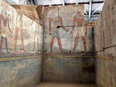 Vividly colored paintings inside the Buhen Temple; Sudan National Museum in Khartoum