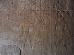 Bas relief work on a wall of the Semna Temple; Khartoum's Sudan National Museum