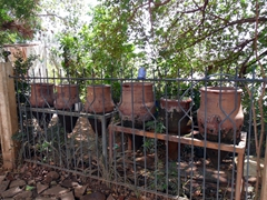 Clay pots keep drinking water nice and cool despite the sweltering daytime temperatures of Khartoum