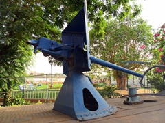 The remnants of the maxim gun used on Kitchener's Melik gunboat (a whopping 500 rounds per minute could be fired); Blue Nile Sailing Club in Khartoum