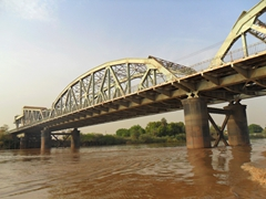View of the military bridge spanning the Blue Nile River