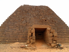 The physical proportions of Nubian Pyramids are markedly different than their Egyptian counterparts (they rarely exceed eight meters in width and as a result, are tall, narrow structures)