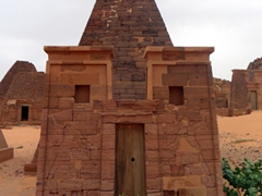 Unfortunately, all the Meroe Pyramids were plundered during ancient times. It is believed that the royal occupants were mummified, bejeweled and encased in a wooden coffin