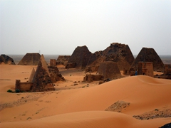 The pyramids of Meroe number about 200, many of which are still in ruins