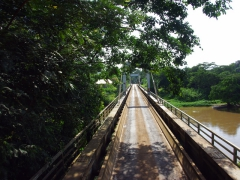 Crossing a bridge leading out from Lope National Park heading towards Lambarene