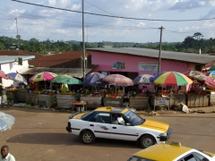 Colorful market umbrellas; Oyem