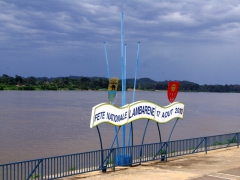 Lambarene flag stand on the Ogooue River