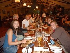 Last group dinner at Ferryman's Tavern; Cape Town waterfront