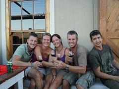 Hoff, Ruthie, Kendra, Robby and Luke enjoying wine tasting at Highlanders; Trawal