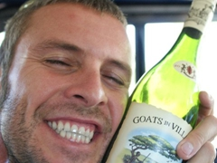 "Robby loving his ""Goats in Villages Shiraz Pinotage""; Stellenbosch wine tour"