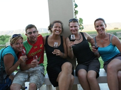 Nancy, Dowelly, Becky, Marie and Bree enjoy the wine tour in Trawal