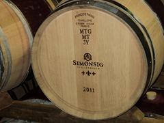 Wine barrels at Simonsig vineyard; Stellenbosch