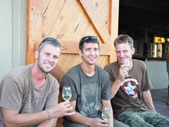 "Robby, Luke and Chris at the Trawal vineyard ""Highlanders"""