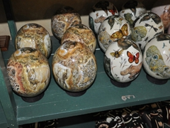 Ostrich egg souvenirs for sale; Cango Ostrich Farm