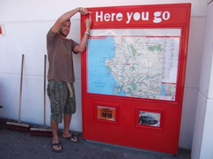 "Robby strikes a pose with Mike's favorite saying ""There You Go"", rest stop enroute to Cape Agulhas"