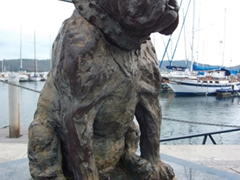 A statue of Bondi at the Knysna waterfront
