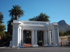 The impressive entrance to Mount Nelson Hotel, where afternoon tea is a must