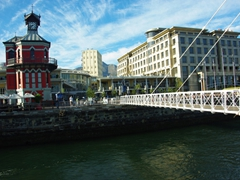The swinging bridge connects passengers to the Clock Tower at the Victoria and Alfred waterfront; Cape Town