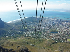 View of Cape Town as seen from the cable car to Table Mountain