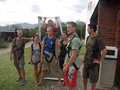 The daredevils get ready (Robby, Kendra, Matt, Dowelly, Marie, Hoff and Luke)