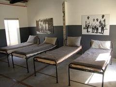 The area where Robert Mangaliso Sobukwe's children slept while waiting to visit their father who was kept in isolation for over six years; Robben Island