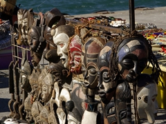 Various types of African masks for sale; Hout Bay