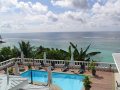 View overlooking the pool and beyond from our room; Le Relax hotel