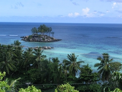 Typical Seychelles panorama; gorgeous shades of blue and green