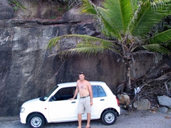 A tiny car was perfect to navigate Mahe's curvy roads!