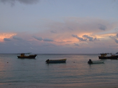 Typical sunset on Anse Royale beach
