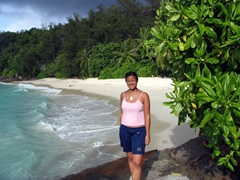 Becky admiring Anse Soleil beach