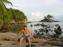 Robby hanging out at Anse Royale Beach