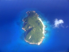 View from Air Seychelles. One of the many Seychellois islands
