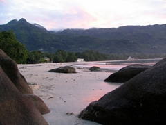 Dusk is fast approaching on Beau Vallon beach; Mahe