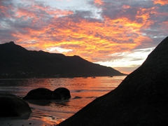This was our first sunset in the Seychelles. Absolutely gorgeous!