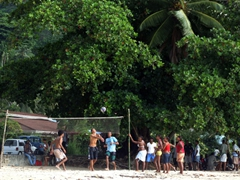 Locals playing volleyball on Beau Vallon beach over the weekend. (Lots of families gather on Beau Vallon for BBQs, relaxation, and simply to hang out)