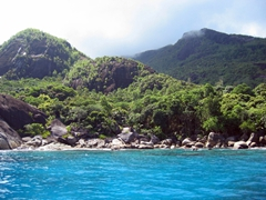 Our first SCUBA site: a short boat ride away from Beau Vallon