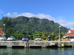 View of the Victoria harbor as we are pulling out towards Praslin